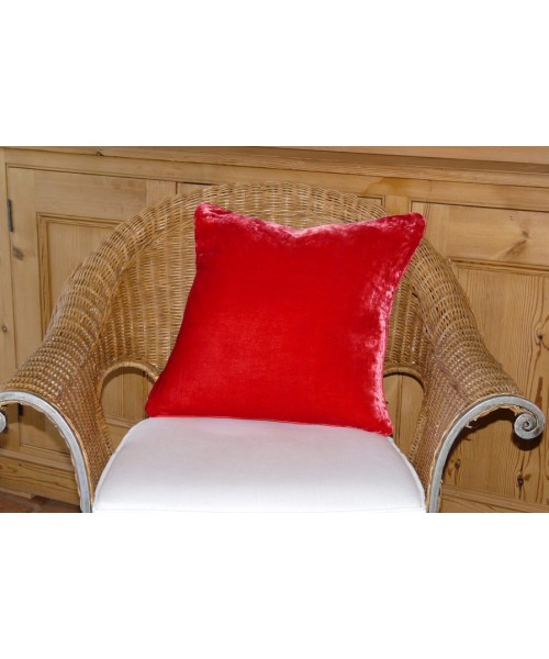 Cushion Silk Velvet Scarlet