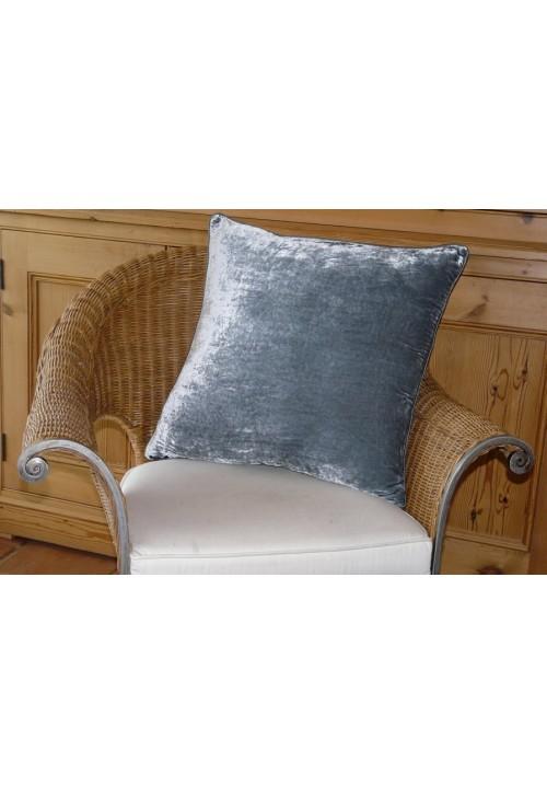 Cushion Silk Velvet Steel