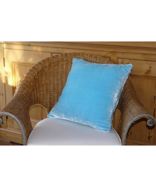 Cushion Silk Velvet Turquoise