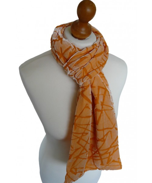 Devore Silk Velvet Scarf Abstract Jaffa