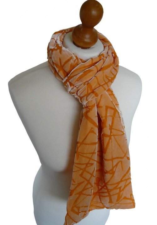 Classic Silk Velvet Scarf Abstract Jaffa