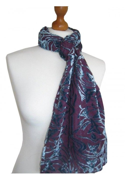 Classic Silk Velvet Scarf Devore Airforce Plum