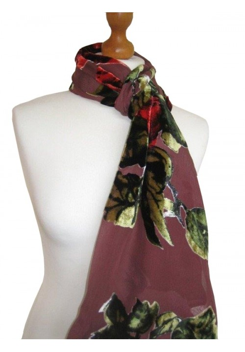 Classic Silk Velvet Scarf Devore Autumn Rose