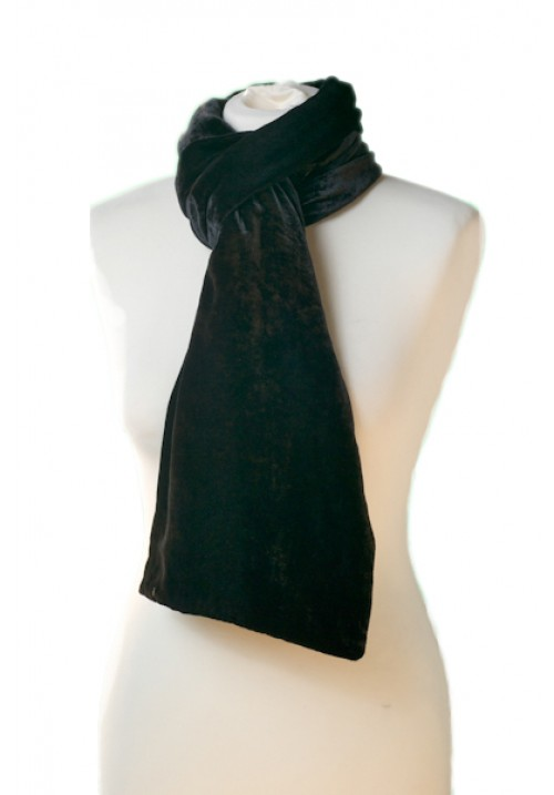 Classic Silk Velvet Scarf Black