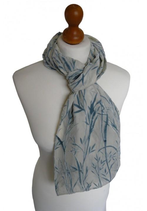 Devore Silk Velvet Scarf Blue Bamboo