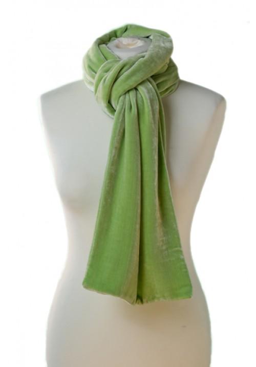 Classic Silk Velvet Scarf Green