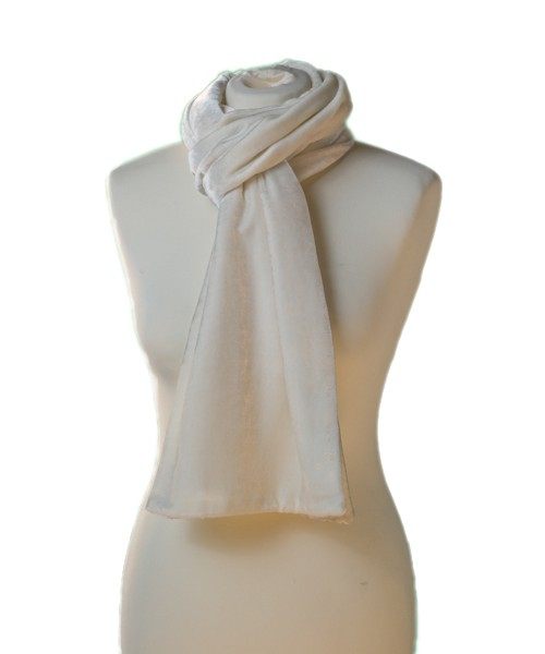 Classic Silk Velvet Scarf Ivory