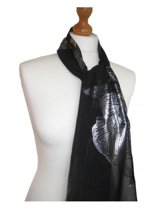 Devore Silk Velvet Scarf Lurex Floral Black