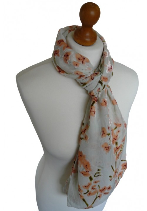 Devore Silk Velvet Scarf Orange Blossom
