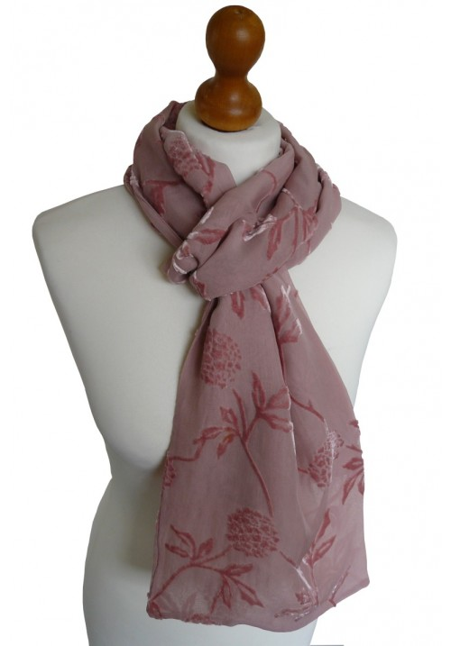 Devore Silk Velvet Scarf Pink Peony