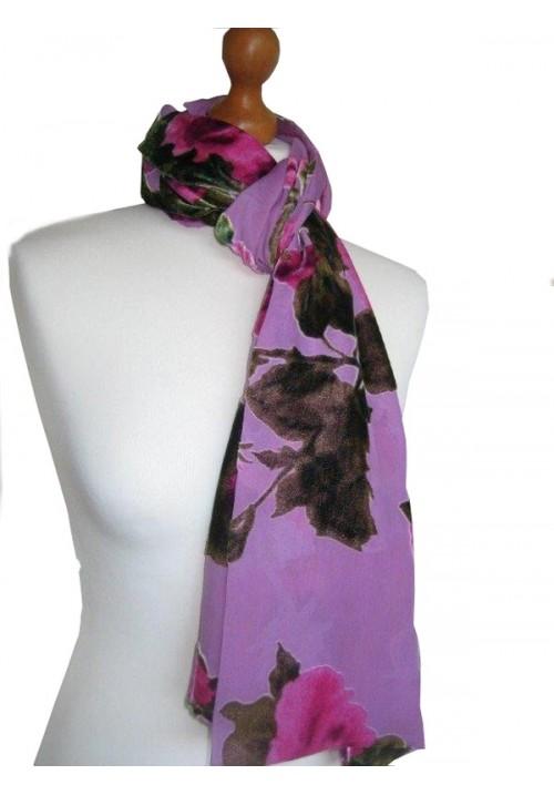 Classic Silk Velvet Scarf Devore Rose Pink