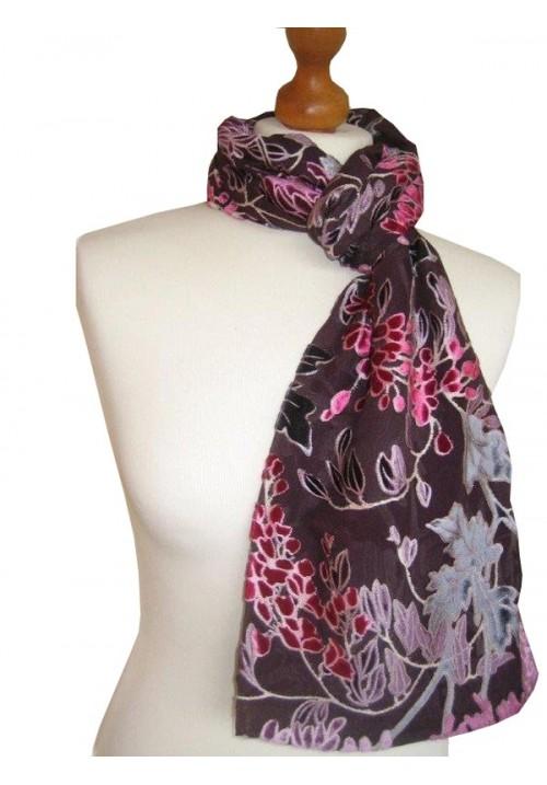 Classic Silk Velvet Scarf Floral Port