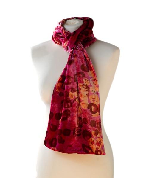 Classic Silk Velvet Scarf Print Red