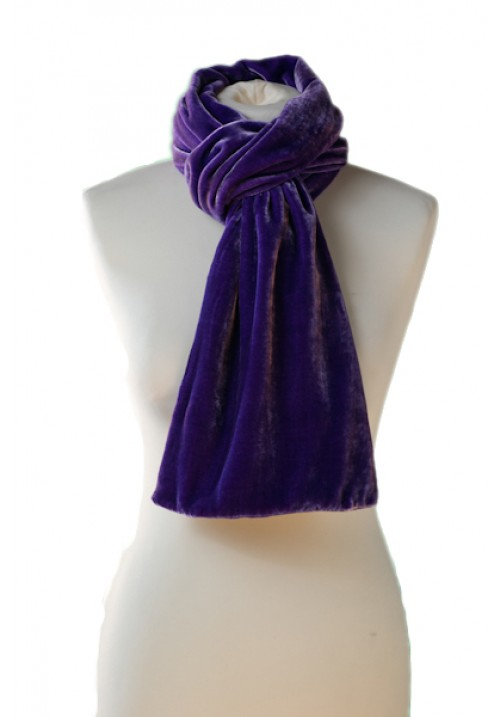 Classic Silk Velvet Scarf Purple Pink
