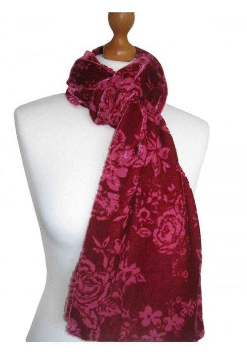Classic Silk Velvet Scarf Devore Raspberry Rose