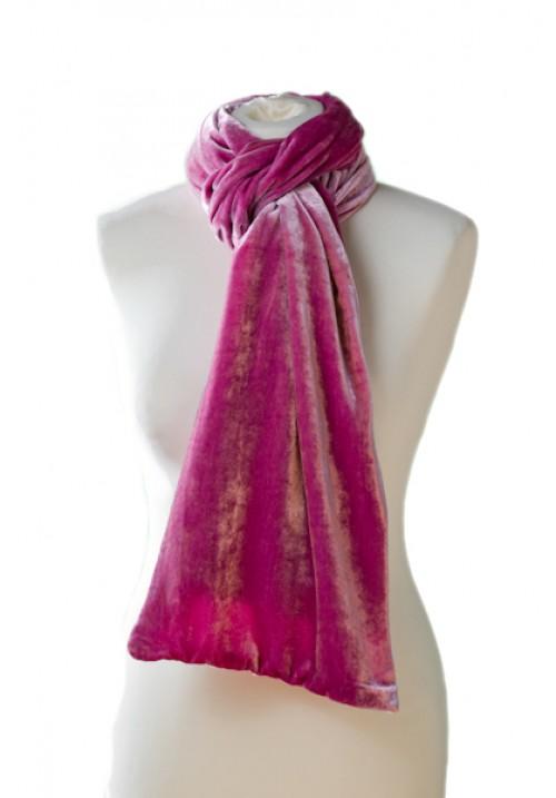 Classic Silk Velvet Scarf Rose