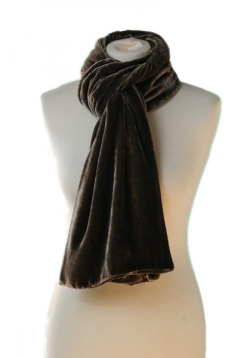 Classic Silk Velvet Scarf Rose Black