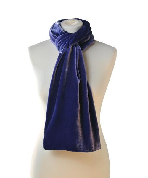 Classic Silk Velvet Scarf Sapphire