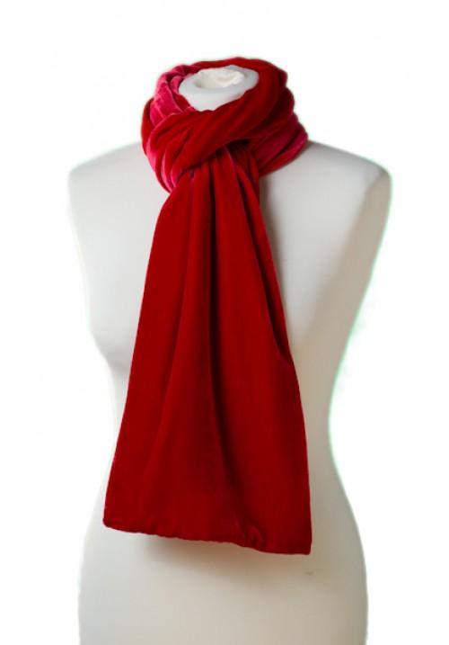 Classic Silk Velvet Scarf Scarlet