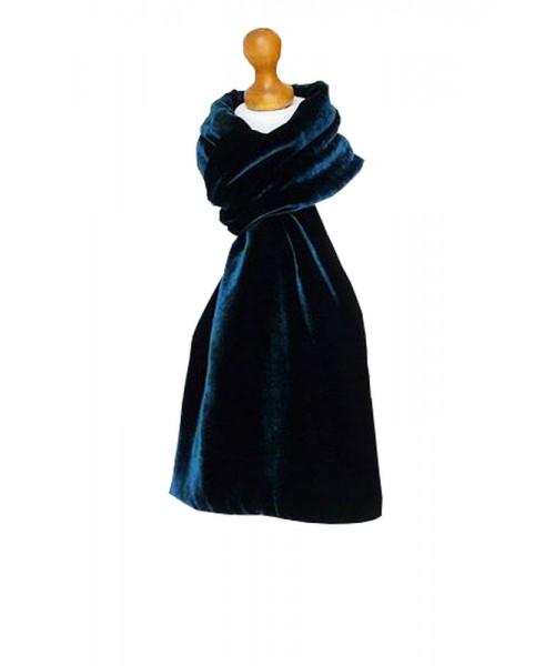 Classic Silk Velvet Scarf Teal