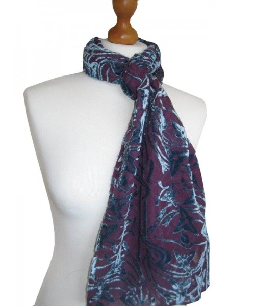Devore Silk Velvet Scarf Airforce Plum