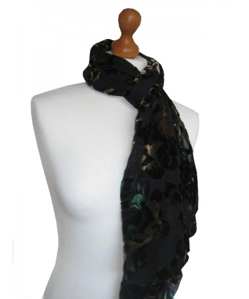 Devore Silk Velvet Scarf Multi Black