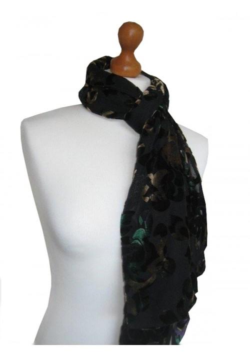 Devore Silk Velvet Scarf Multi Black