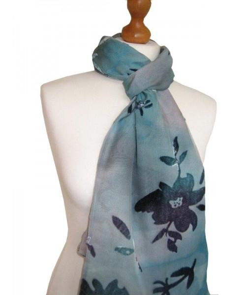 Devore Silk Velvet Scarf Blue Ombre