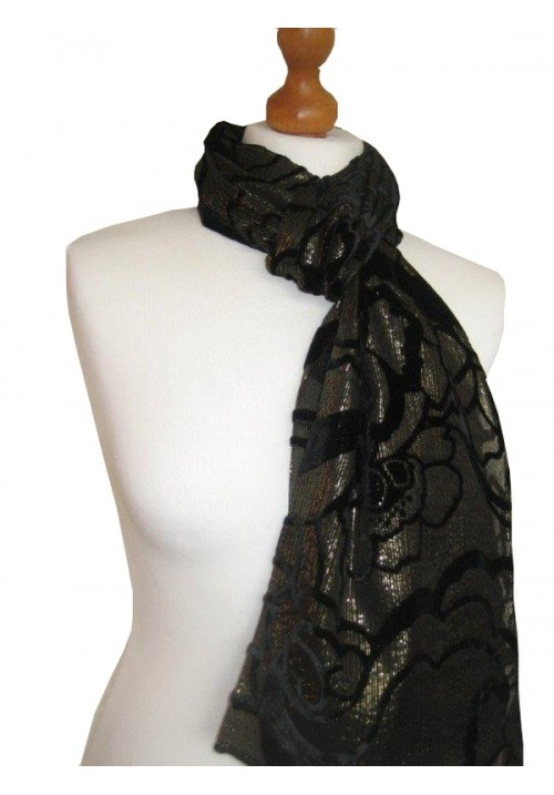 Devore Silk Velvet Scarf Gold Lurex
