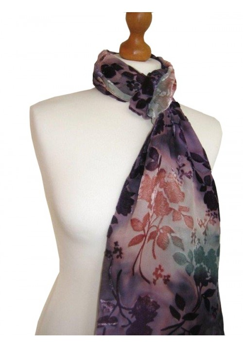 Devore Silk Velvet Scarf Grape Ombre
