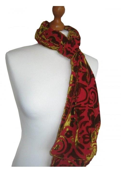 Devore Silk Velvet Scarf Kiwi Passion