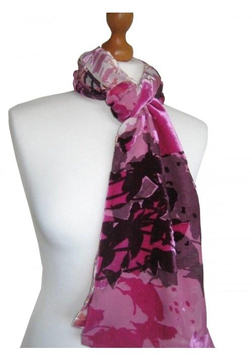 Devore Silk Velvet Scarf Multi Pink