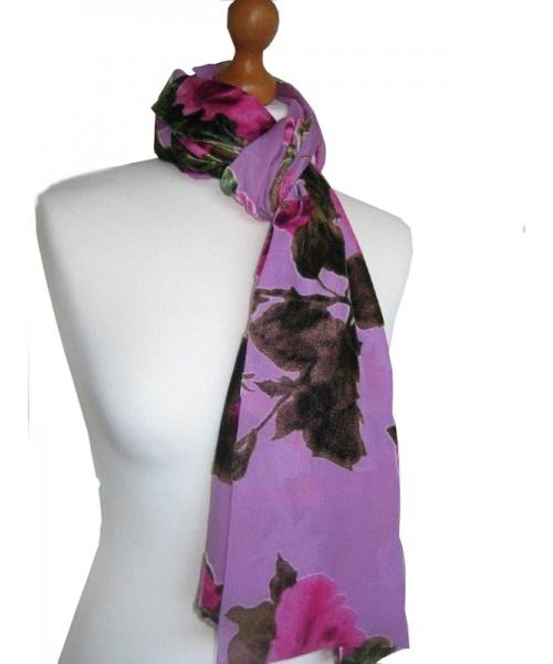 Devore Silk Velvet Scarf Rose Pink