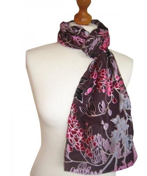 Devore Silk Velvet Scarf Floral Port