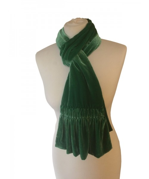 Frill Silk Velvet Scarf Apple