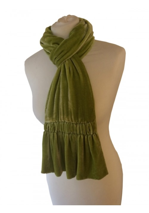 Frill Silk Velvet Scarf Lemon Brown