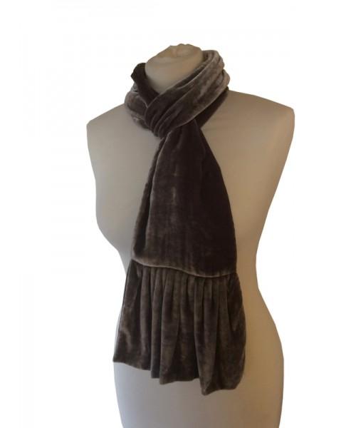 Frill Silk Velvet Scarf Rose Black