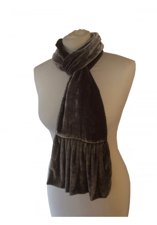 Frill Silk Velvet Scarf Rose Black