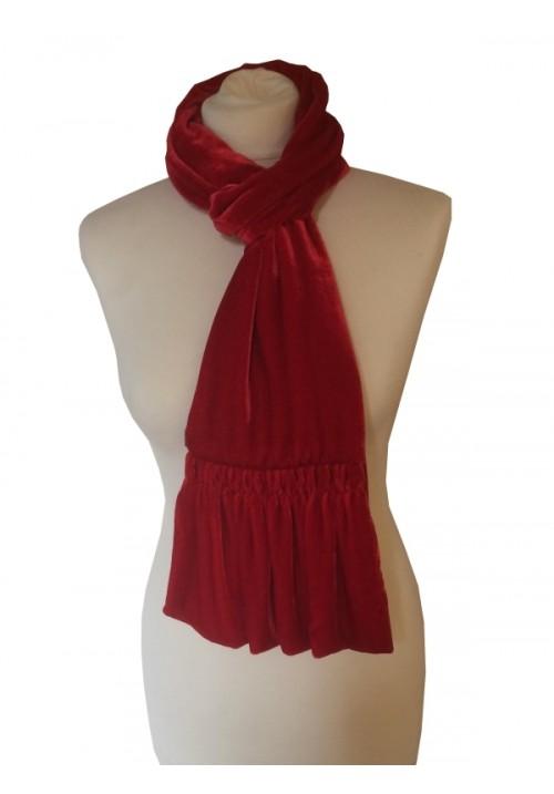 Frill Silk Velvet Scarf Scarlet