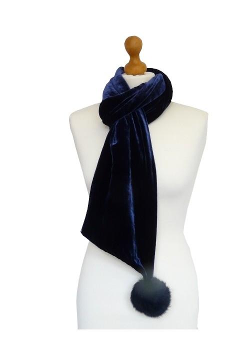 Pompom Silk Velvet Scarf Navy