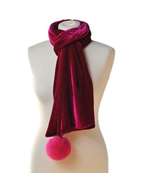 Pompom Silk Velvet Scarf Passion