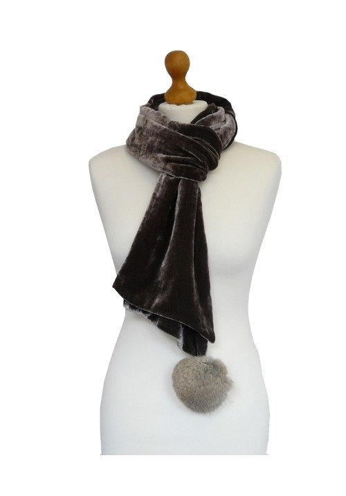Pompom Silk Velvet Scarf Rose Black
