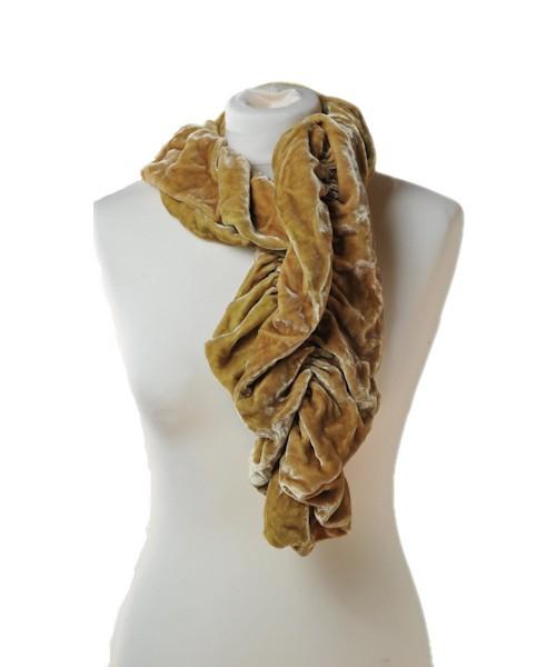 Ruffle Silk Velvet Scarf Corn