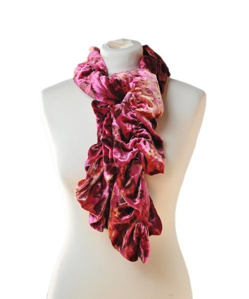 Ruffle Silk Velvet Scarf Print Red