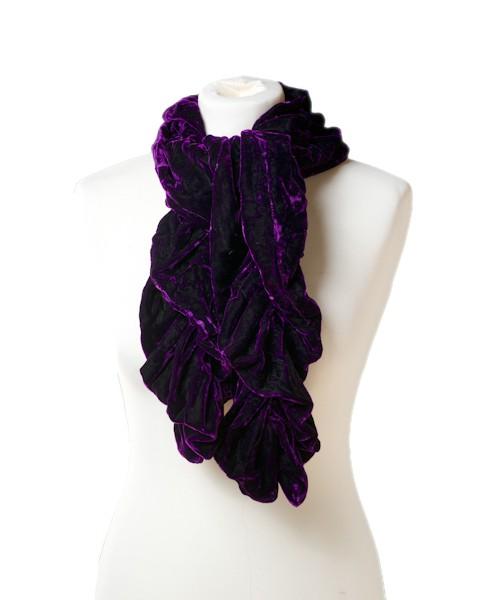 Ruffle Silk Velvet Scarf Purple