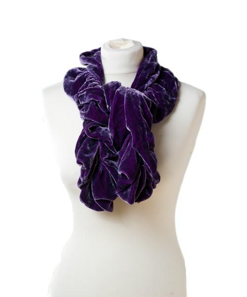 Ruffle Silk Velvet Scarf Purple Pink