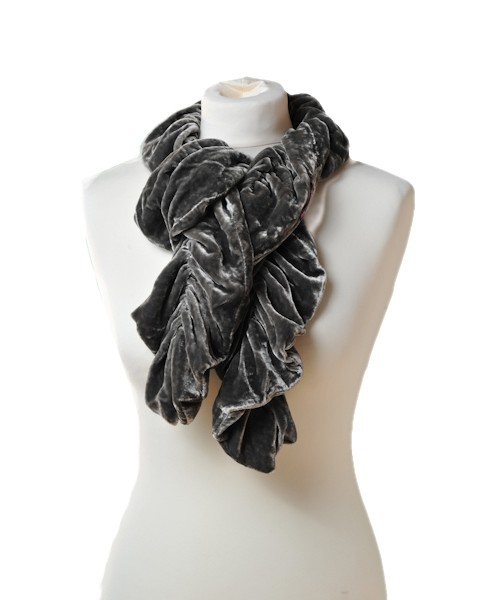 Ruffle Silk Velvet Scarf Rose Black
