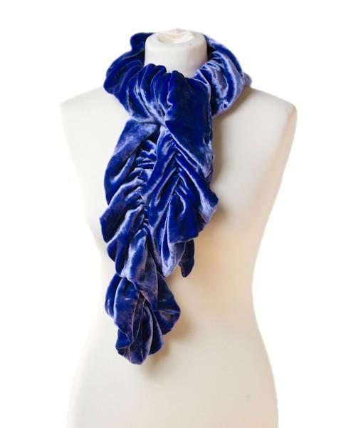 Ruffle Silk Velvet Scarf Sapphire