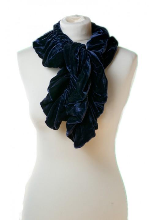 Ruffle Silk Velvet Scarf Shadow