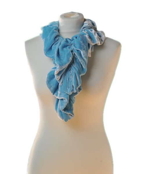 Ruffle Silk Velvet Scarf Turquoise